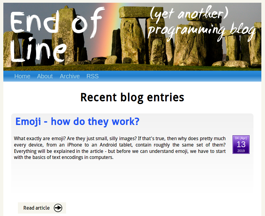 old 'End of Line' homepage
